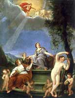 Cyble and the four seasons, painting made in 1635 by Francesco Albani