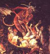 Part of the wall painting of the Last Judgement